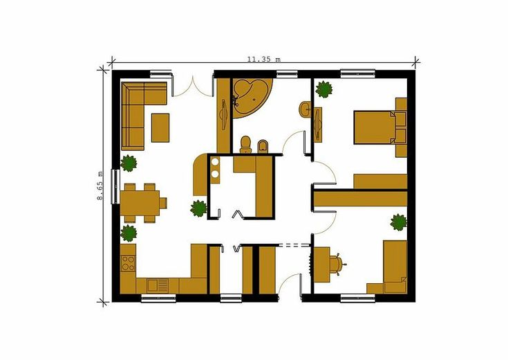case cu doua dormitoare Two bedroom single story house plans 3