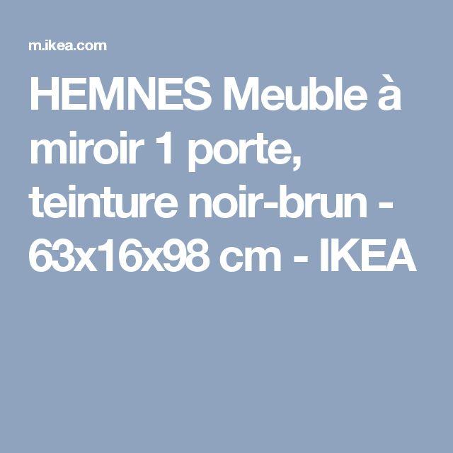 HEMNES Meuble à miroir 1 porte, teinture noir-brun - 63x16x98 cm - IKEA