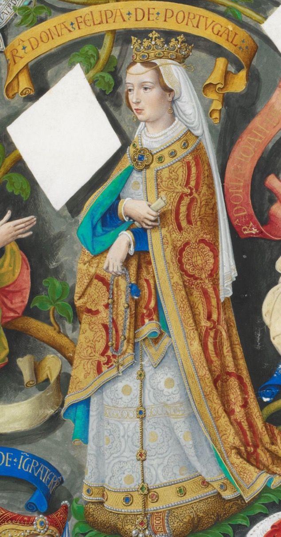 Felipa de Lancaster (Leicester 1360-1415 Odivelas). Reina consorte de Portugal, casada con Juan I de Avis en 1387. Padres del Rey Eduardo I de Portugal, de Enrique el Navegante, Isabel duquesa de Borgoña al casar con Felipe III el Bueno (padres de Carlos el Temerario). Era hija de Juan de Gante y Blanca de Lancaster, primeros duques de Lancaster. Es el fruto de la alianza anglo-portuguesa para frenar la franco castellana. Murió de Peste Negra, enterrada en el monasterio de Batalha.