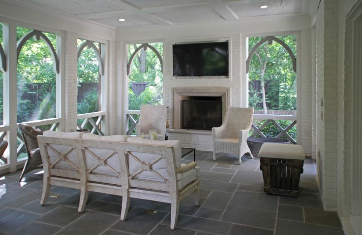 Screened Porch - Menzer McClure Architects Arches and railing for screened porch that add nice architectural touch.