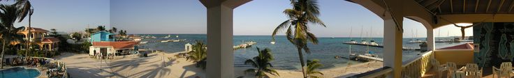 Panoramic view from the top of the Sunbreeze Hotel, Ambergris Caye, Belize.