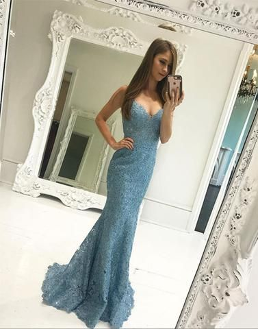 Mermaid blue lace long prom dress, lace evening dress,PD2009