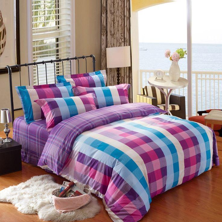 tartan plaid design twin full queen size bedding sets
