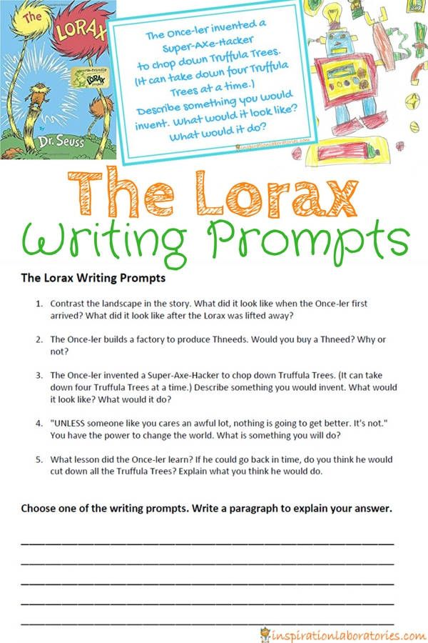The Lorax Writing Prompts Inspiration Laboratories Writing Prompts The Lorax Spring Writing Prompts
