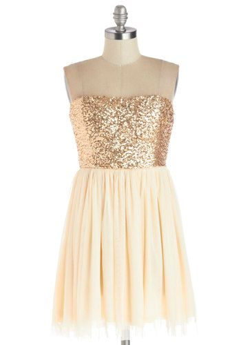 On the Champagne Trail Dress - Cream, Gold, Sequins, Party, Ballerina / Tutu, Strapless, Good, Knit, Short, Holiday Party--Modcloth.com