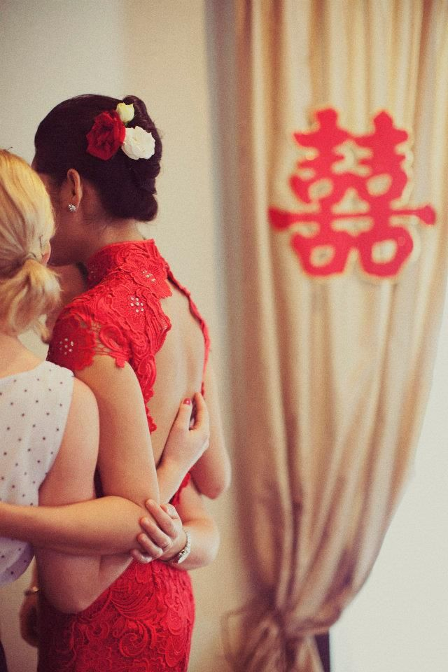 Western inspired and modified Red Qipao or Cheongsam...for a vintage looking detail to theback...a fusion of east and west for a modern bride!