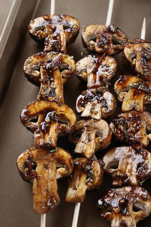 Grilled Mushroom Skewers Ingredients 16 oz (1 lb) Baby Portabello Mushrooms (crimini or button work too) For the marinade: ¼ cup olive oil ¼ cup lemon juice small handful of parsley 1 tsp sugar 1 t...