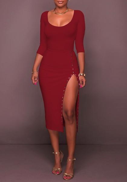 89a80efbbf Burgundy Rivet Side Slit Bodycon 3 4 Sleeve Round Neck Party Maxi Dress