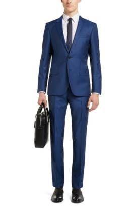 Traje slim fit en lana virgen con textura fina: 'C-Huge1/C-Genius', Azul