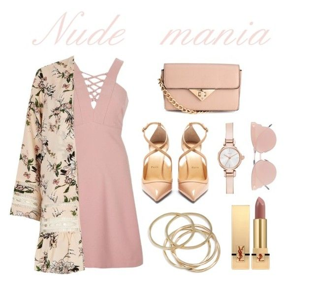 """Nude mania"" by csmarcsi on Polyvore featuring River Island, H&M, Christian Louboutin, So.Ya, ABS by Allen Schwartz, Yves Saint Laurent and DKNY"