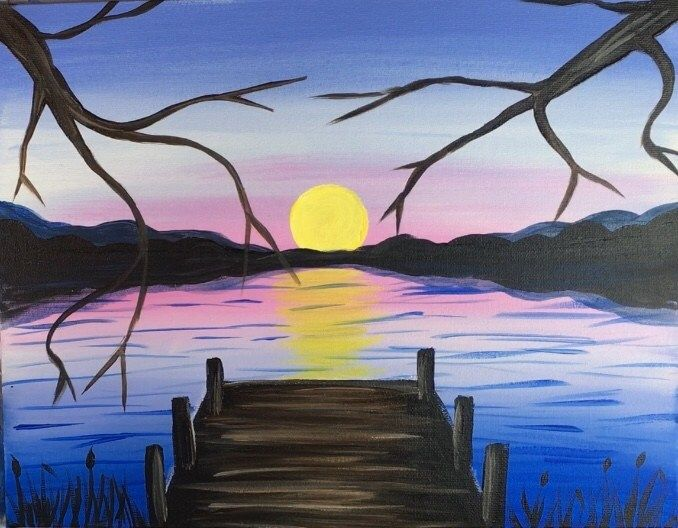 How To Paint A Sunset Lake Pier Easy Landscape Paintings Easy Canvas Painting Pastel Sunset