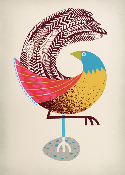 Screen print by Andrew Holder (Early Bird, 2008)fromPulled: A Catalog of Screen Printing