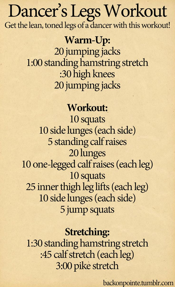 a workout to help you get the toned legs of a dancer. pair this with a lot of stretching and you should notice a difference, especially in your calves, pretty quickly.