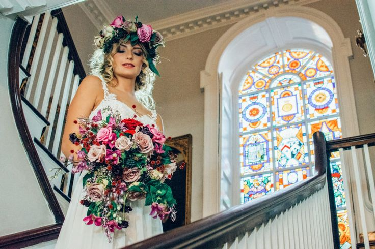 The #bride making her way down the #beautiful winding staircase at Belchamp Hall #wedding #venue in the rural Suffolk countryside