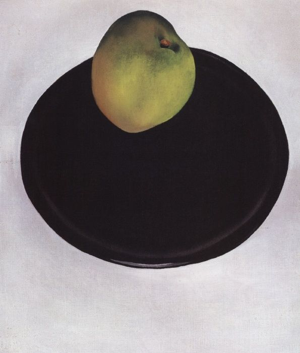 Georgia O Keeffe. Green Apple on Black Plate 1922