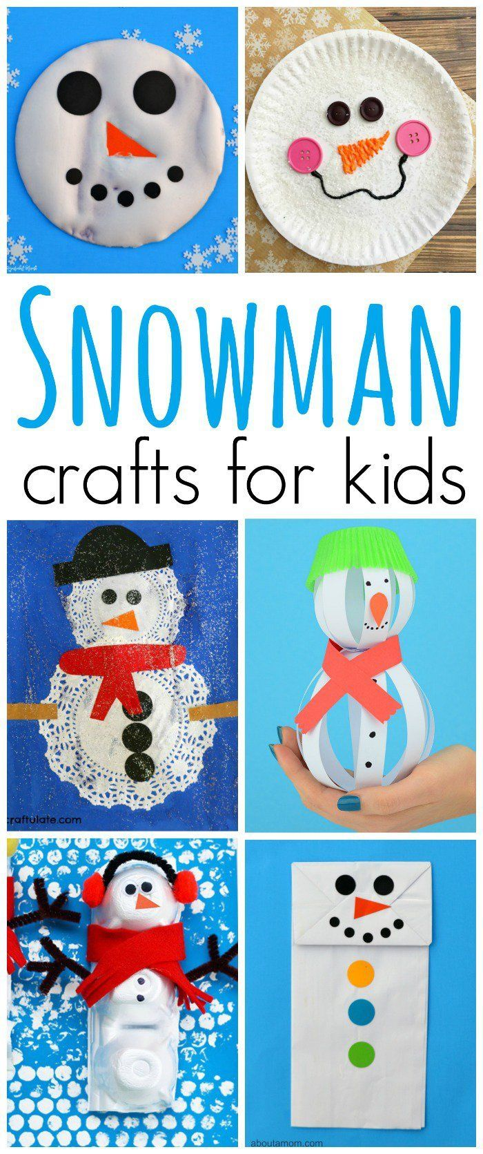 Kids will stay warm while making these super cute and fun snowman crafts this winter.