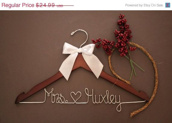 ON SALE Personalized Wedding Hanger, bridesmaid gifts, name hanger, brides hanger on Etsy, $13.99