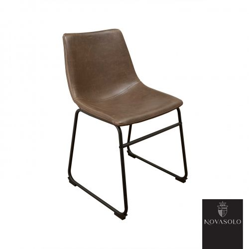 Råtøff og stilig Watson spisestol i brun vintage PU.