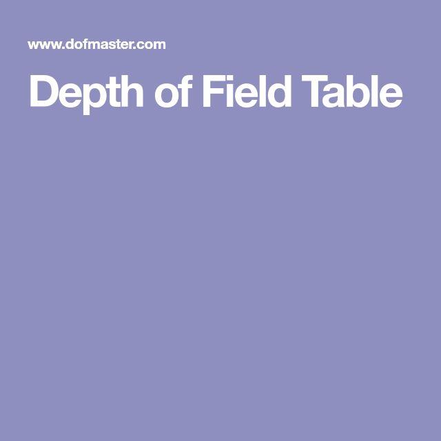 Depth of Field Table