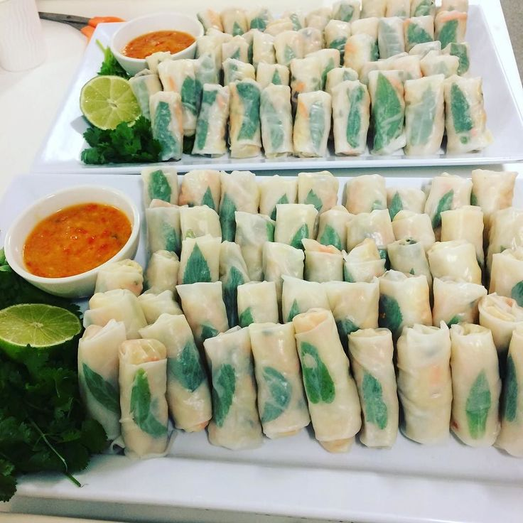 Coconut chicken rice paper rolls & mango dipping sauce. #healthyeats #canapes #cocktailparty #events #eventcatering #sydneycatering #figmintcatering #entertainingwithfigmint #parties