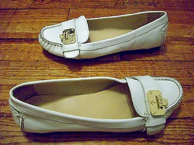 COLE HAAN NIKE AIR WHITE PATENT LEATHER LOAFERS SHOES GOLD BUCKLE SIZE 5  1/2B