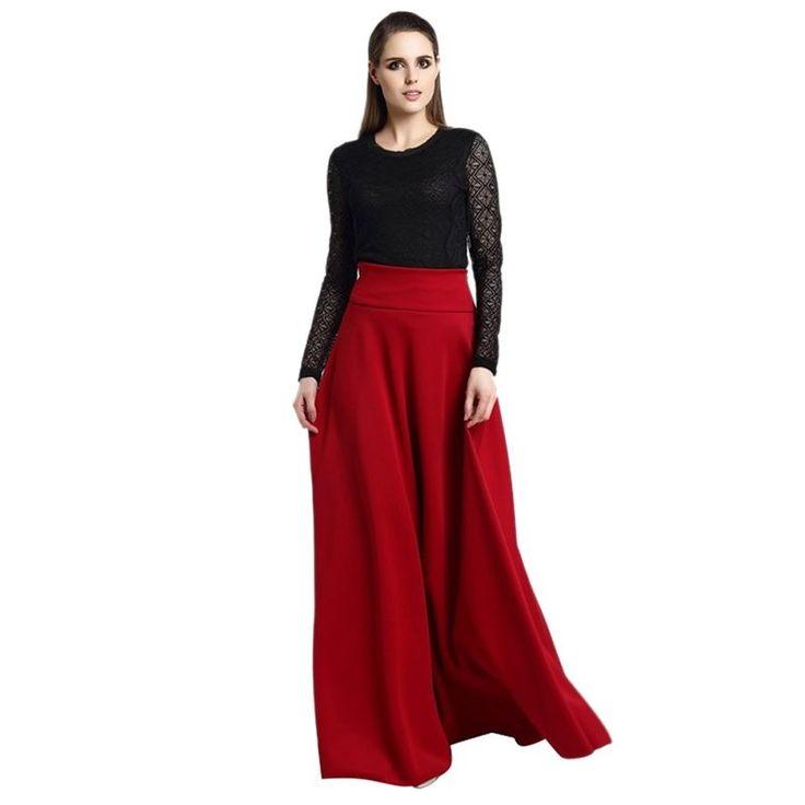 2017 Fashion High Waist Pleat Elegant Long Ladies Soft Solid Color Skirt 2017 S-5XL - MISS LADIES