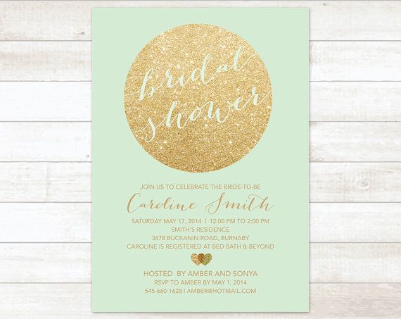 gold mint bridal shower invitation mint by pinkdahliaprintable, $14.99