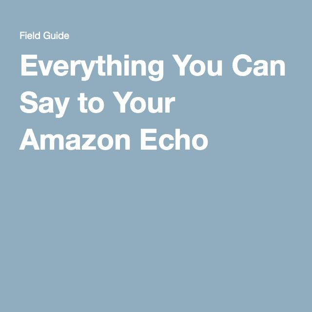 Everything You Can Say to Your Amazon Echo