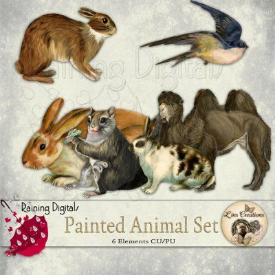 Painted animals set  http://rainingdigitals.com/store/index.php?main_page=product_info&cPath=1_168&products_id=537