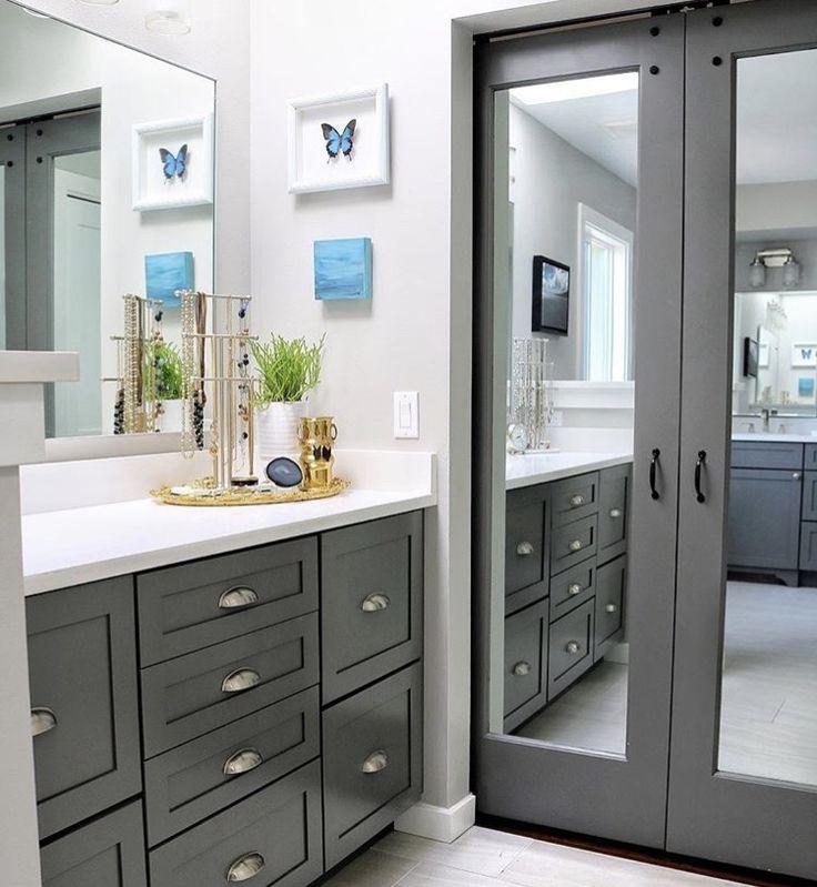 mirror on master bathroom linen closet  bathroom linen