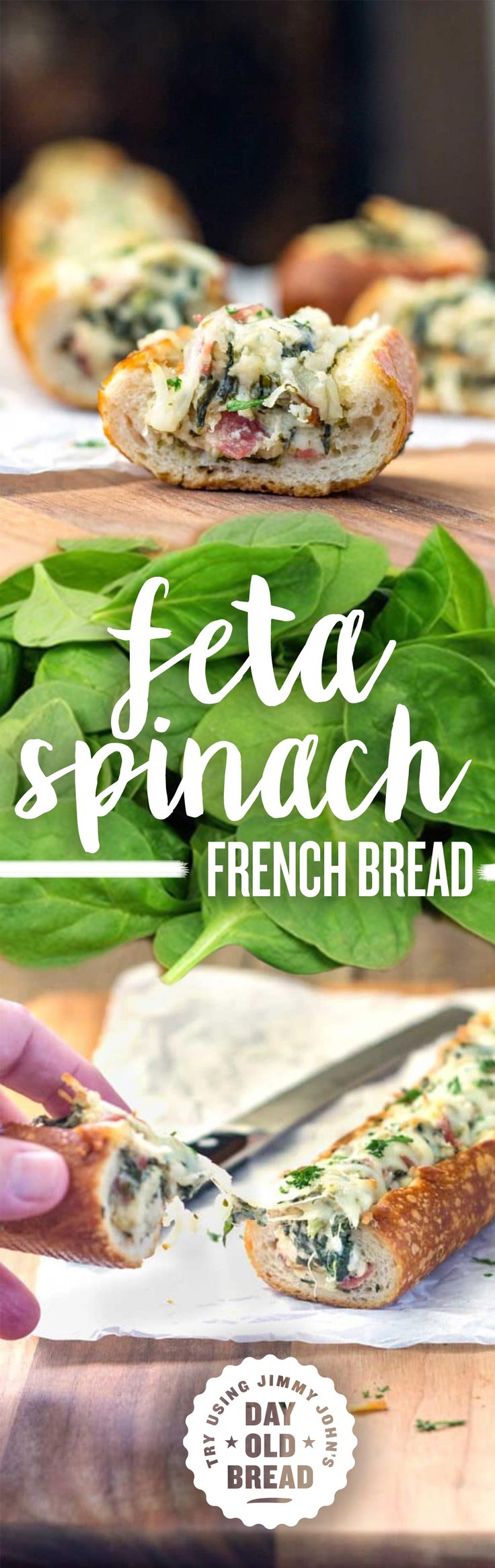 This easy, cheesy, creamy feta and spinach stuffed french bread is deliriously rich and tasty. Try making with Jimmy John's Day Old Bread for a yummy appetizer great for parties!