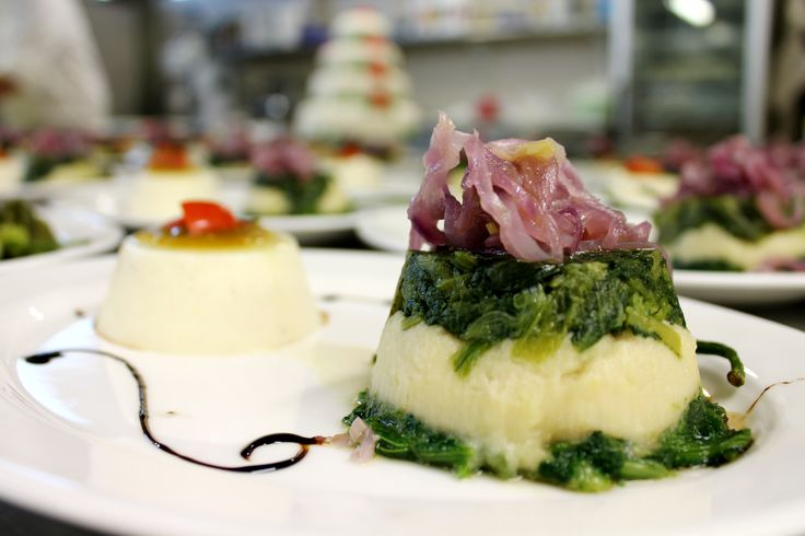 Caciocavallo cheese pudding & fava beans puree with chicory ang glassed onion. Apulian style dishes!