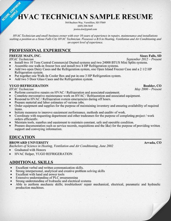 A C Technician Resume Examples Resume Examples Pinterest