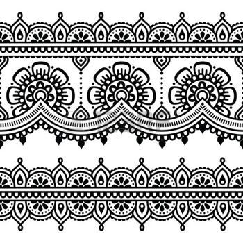 motif marocain: Mehndi, tatouage au henné indien seamless                                                                                                                                                                                 Plus