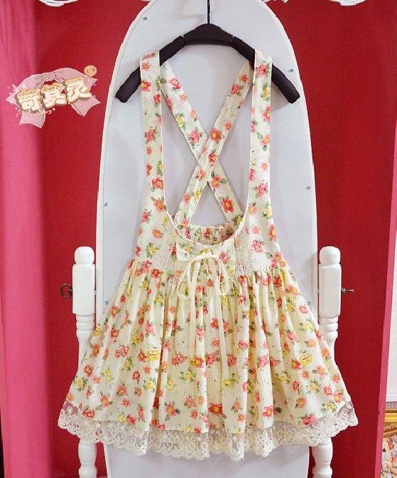 Kvinnor hårda hårda japanska mjuk syster lolita flickor sommarträdgård blommig spets bandage rem stalk culottes skirt - Taobao