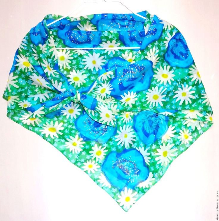 Купить большой шелковый платок-батик цветочный рисунок светлый платок - платок шелковый, батик платок
