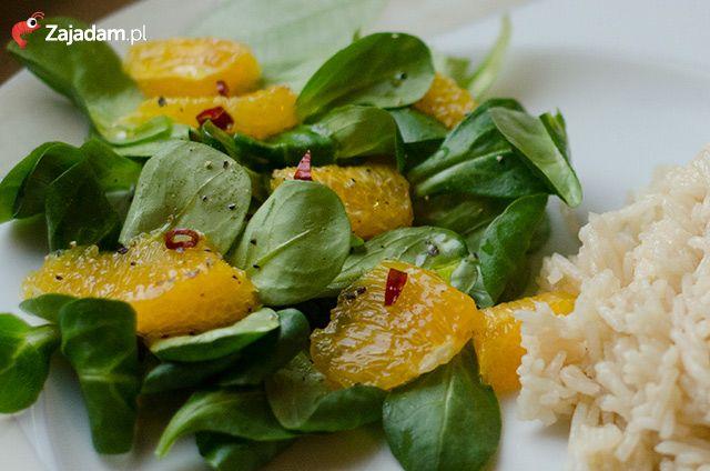 Dorsz z ryżem i sałatką z roszponki / Pan-fried cod with rice and lamb's lettuce salad