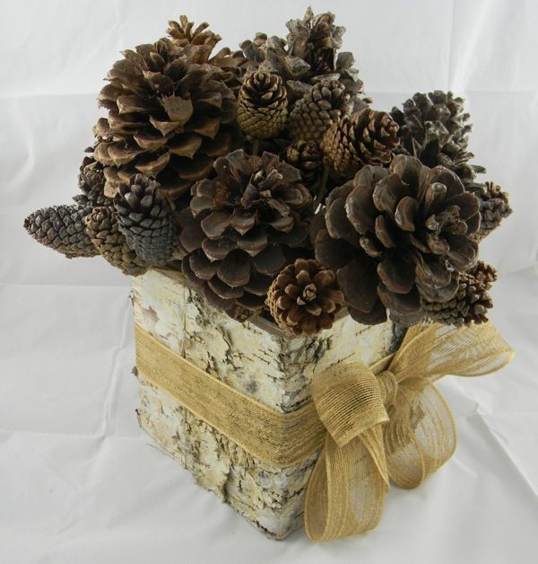 birch tree decorated for wedding | Pinecone Wedding Centerpiece | Green Bride Guide