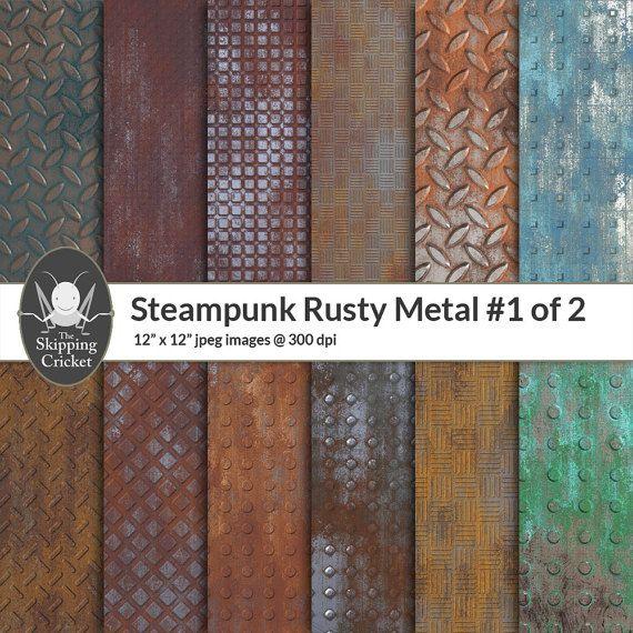 Steampunk rusty metal papers metal panels metal treads