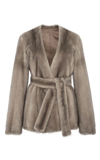 This **BROCK Collection** jacket features a wrap style and a mink fur…