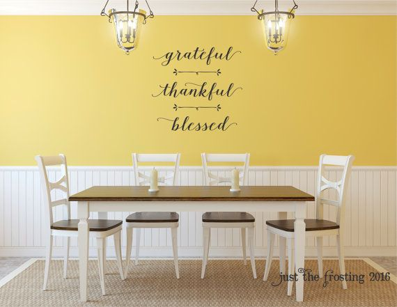 **Grateful Thankful Blessed** 22tall x 23wide  It can be made in any of our 38 colors available (see color choices above).   This decal can me made in different dimensions. Price may change depending on size.  Included in this purchase: -High quality vinyl decal -Easy to follow instructions -stick for applying -test decal  Please see our shop Policies.  *Pictures may not reflect true size.