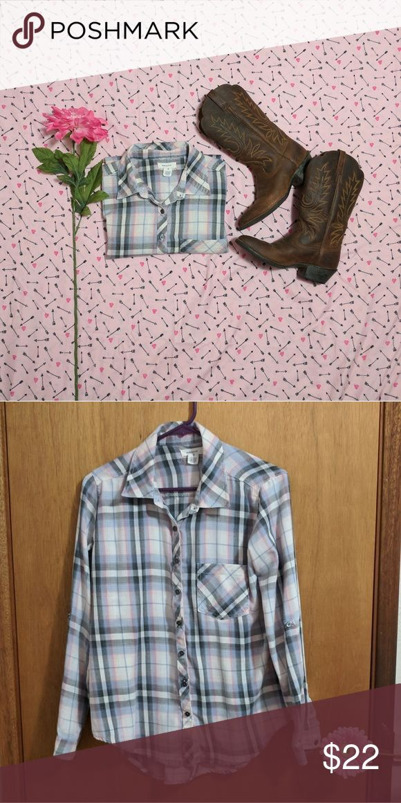Plaid shirt Size S Gray, pink, and light blue button down plaid shirt Tag shows size S, but fits M also Blue Asphalt Tops Button Down Shirts