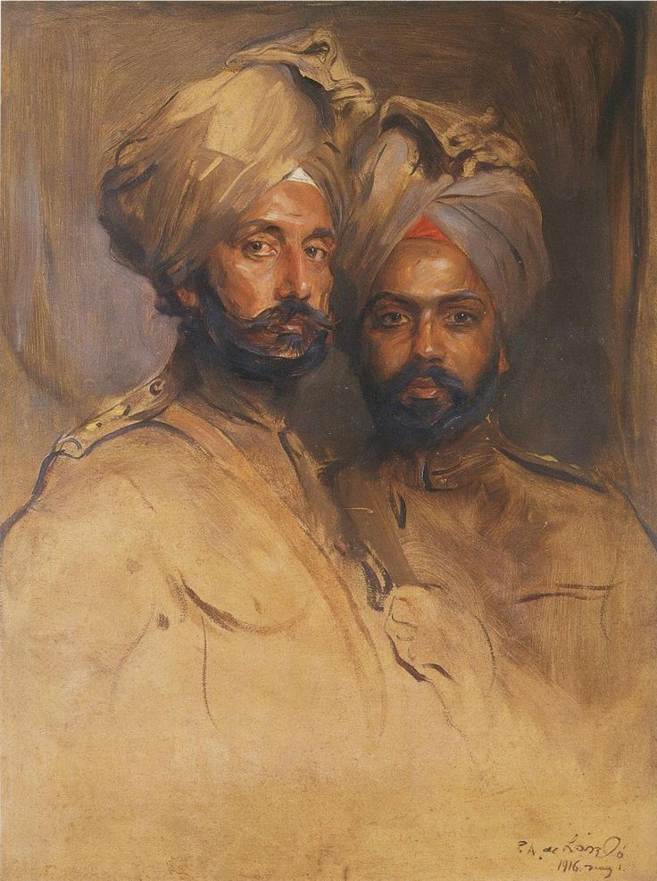 Philip de László (Hungarian, 1869-1937), Two Sikh Officers, Rasaldar Jagat Singh and Rasaidar Man Singh, 1916. Oil on board. Private collection.