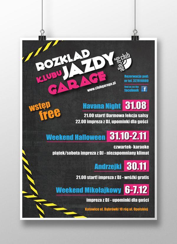 Promotional poster series for Garage Club - Katowice by kamila figura, via Behance