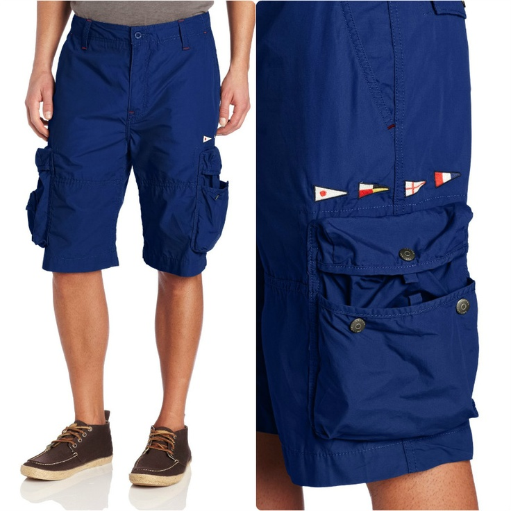 Nautica Men's Sail Cloth Cargo #Short - $65  Two slash front pockets, two flap back pockets and four #cargo pockets, Belt loops, Embroidered flag detail lends well-traveled appeal to the utilitarian look of Nautica's Sail Cloth Cargo #short #men