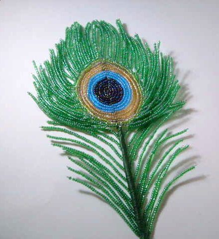 French beaded Peacock Feather by Budding Creations, via Flickr