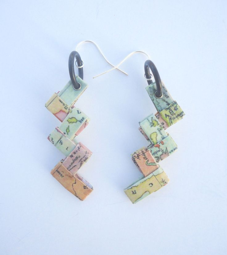 origami paper earrings with the map of ancient Greece by HandmadeJewelryEgeo on Etsy https://www.etsy.com/listing/176431528/origami-paper-earrings-with-the-map-of