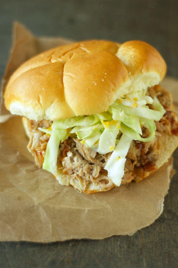 Crockpot Hawaiian Pulled Pork Sandwiches with Mandarin Orange Slaw