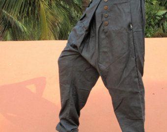 Desierto de sarwel de los hombres, pantalones de algodón negro original, cómodo