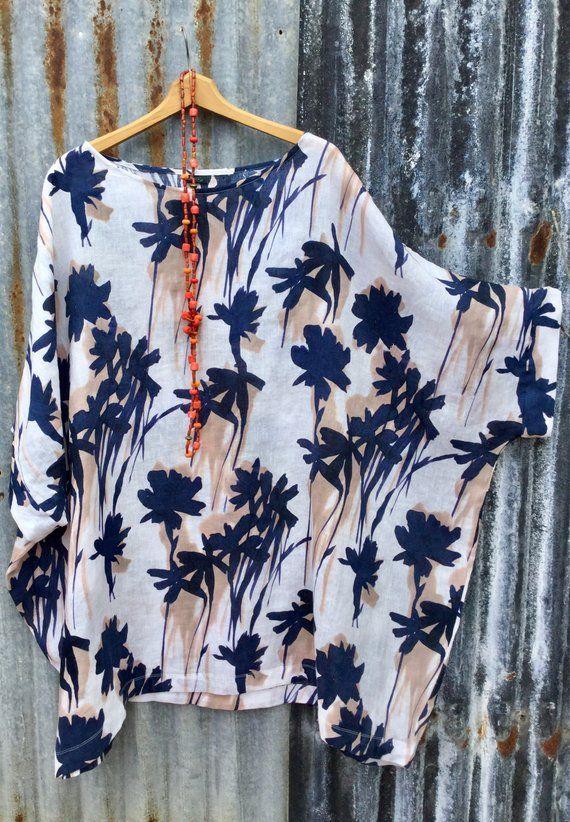 2f7166e0c6b Linen tunic top Floral linen tunic Oversized linen tunic Kaftan top ...